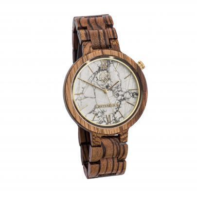 Houten horloge marmeren