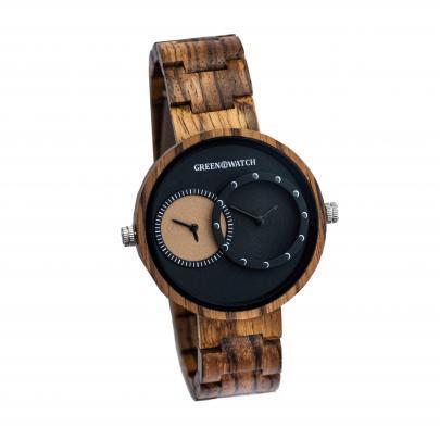 Houten Horloge voor twee tijdzones en uurwerken